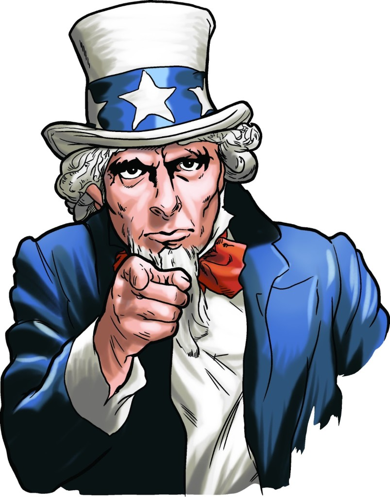 Uncle sam. http://worldartsme.com/i-want-you-uncle-sam-clipart.html